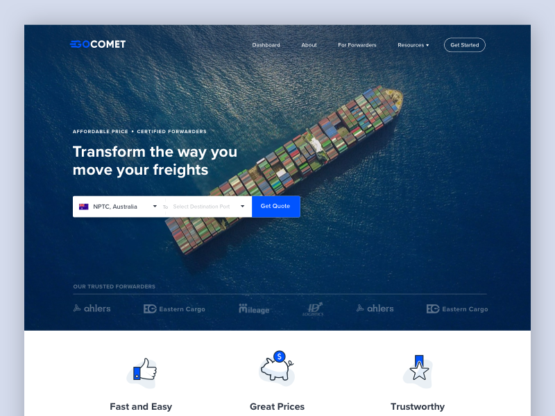 GoComet Landing Page landing home ui icons freight cargo shipping calculator web website illustration ship