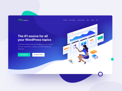 Landing Page for Wordpress Website gradient icon guide search illustration landing ui web