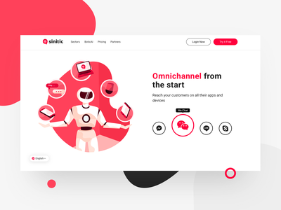Omnichannel robot bot icons interaction dashboard web illustration ux design ui
