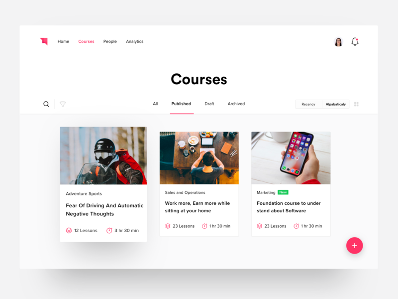 Courses Page learning lms course learn dashboard ux web design ui