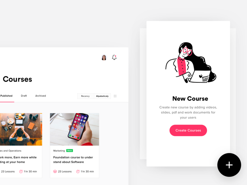 Add New Course landing icons dashboard illustration design ui app lms lesson
