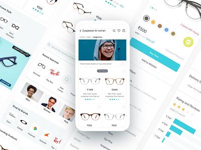 Titan Eyeplus shopping cart ecommerce frames eye glasses mobile interaction website dashboard illustration ux web design ui