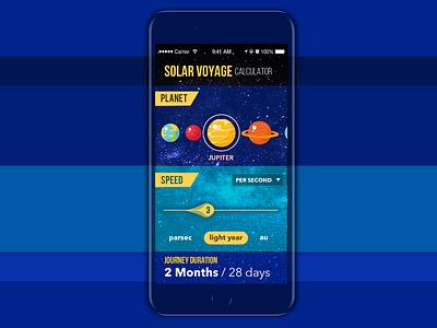 Solar Voyage Calculator design app graphic  design ux ui