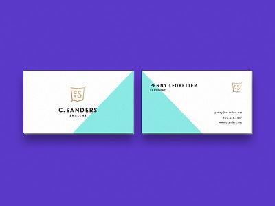 Business Cards fun minimal geometric shield mock up foil flat color business cards