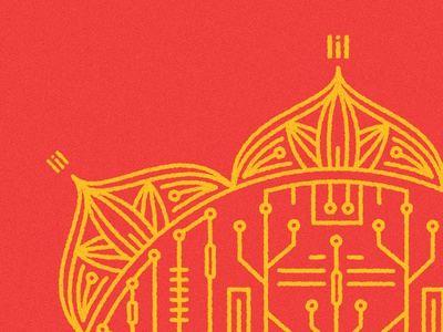 Flower Power lines henna tshirt circuit board tech india flower