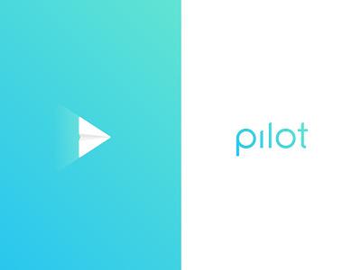 pilot simple gradient icon custom typography pilot logo play button paper plane