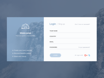 Login board web design sing up ux ui login
