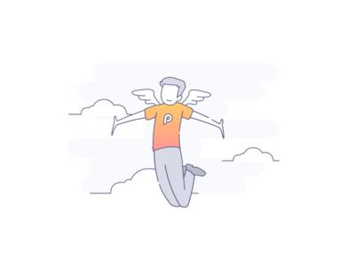 Happy user mobile app user character sketch illustration app