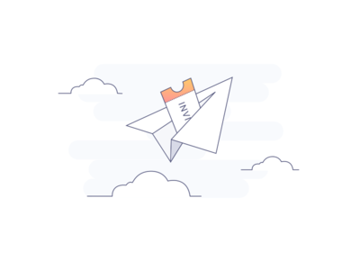 Paper plane mobile app sketch invite illustration character app