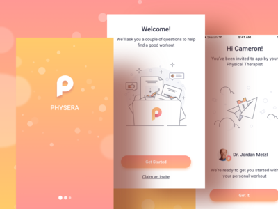 The First Physera Design interface boarding application app ux ui