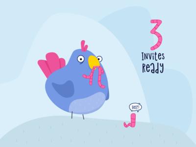 Dribblble Invites worm bird illustration invites invite dribbble