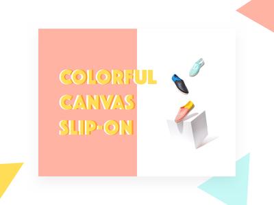 Colourful Canvas Slip-On minimal ui card