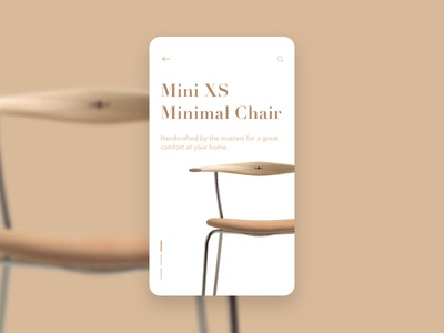 Minimal Chair PDP dotslinescurves handcrafted chair simple uidesign sketch product detail page minimal app design clean cards