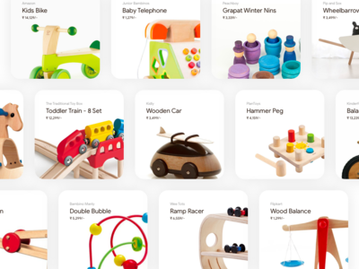 Minimal Product Cards minimalist card toy store toy toddler kids wood wooden toys toys blog ecommerce challenge cards web ui design minimal