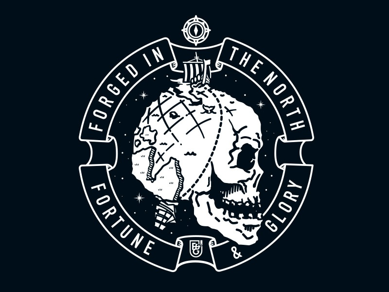 F&G 005 - Forged In The North shetland dundee scotland nautical design skull illustration logo