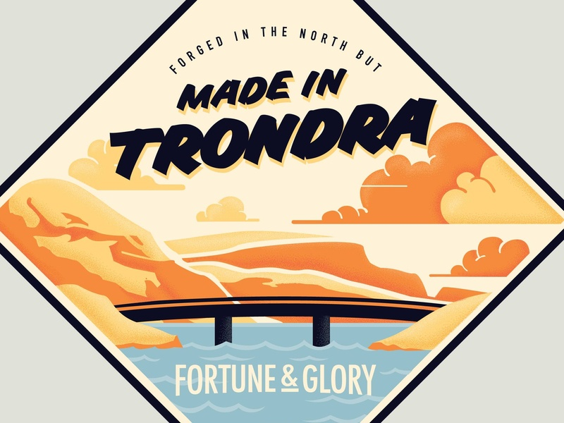 Made In Trondra fortune and glory bridge typography home vector art shading stipple sticker apparel shetland illustration design