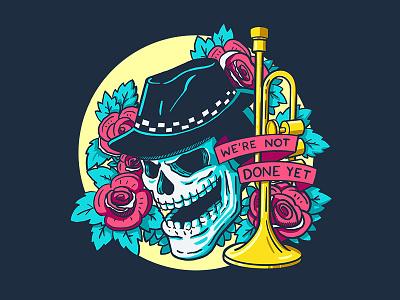 Not Done Yet Colours tattoo art tattoo music band illustration punk design trumpet skull art ska illustration skull
