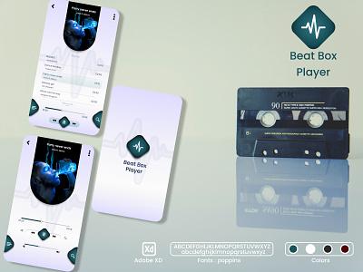 Beat Box player light mode adobe xd design app music player logo graphic design ui