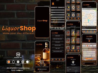 Online Liquor Delivery App delivery app xd black and orange dark mode ui branding logo adobe xd graphic design design app