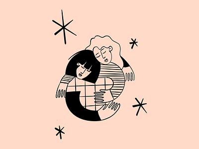 Free Hugs illustration design portraits hug pastel