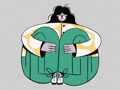 Girl caracter design pink yellow vector women green portrait illustration pastel