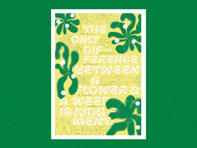 Poster / 1 nature green flowers yellow illustration pastel