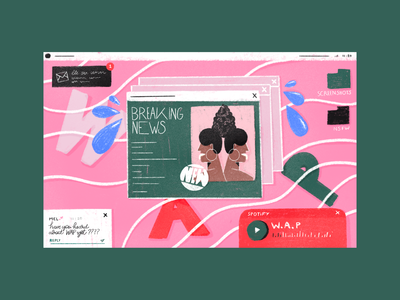 WAP? pink ui design illustration pastel women in illustration women