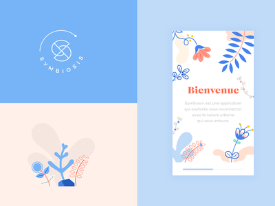 Symbiosis App pastel nature flowers logotype gobelins branding design walk app blue
