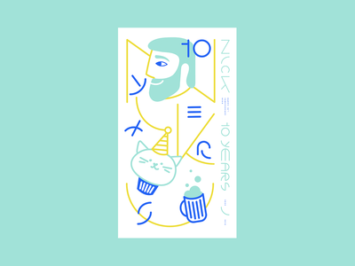 Nick 10th Jamiversary pastel design portrait illustration
