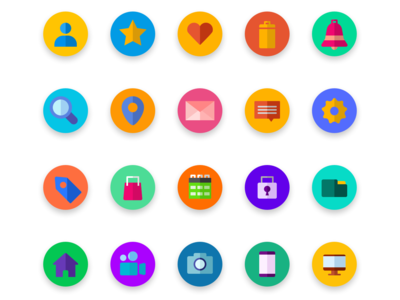 Colorful Round Icons for UI