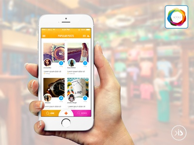 Q-Souq ios home screen ecommerce mobile app ui design photo gallery timeline grid view ui