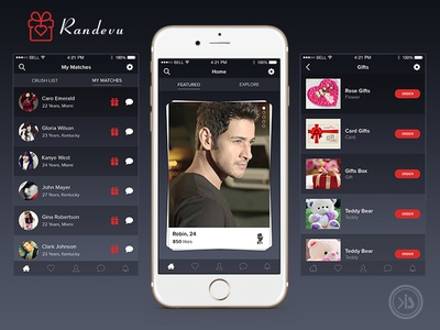 Social App message notification gift grid listing love dating chating social ux app ui
