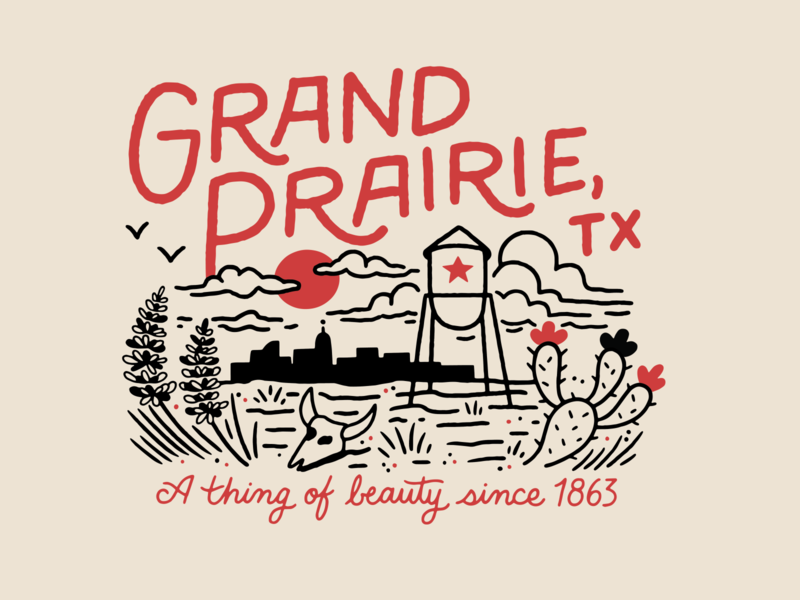 Retro Grand Prairie Tee t shirt art tee design tee texas grand prairie t shirt t shirt design procreate lettering