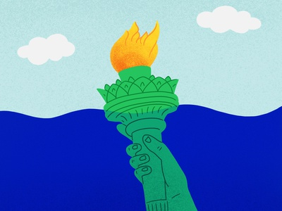 "1/100 ""What cities will be most affected by climate change?"" nyc new york statue of liberty 100daysofdrawingnews thisisnewsworthy 100dayproject the100dayproject climate crisis climate news climate change editorial illustration illustration"