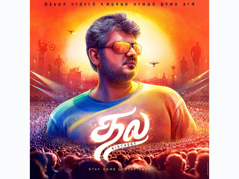Happy Birthday Ajith Sir love workers stayhome typography tamil film poster design portrait drawing painting india art graphic design sivadigitalart illustration