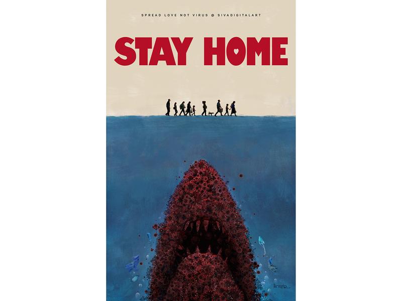 Stay at Home | Covid-19 stayhome lockdown coronavirus film jaws movie poster painting digital art graphic design art sivadigitalart illustration covid19 corona