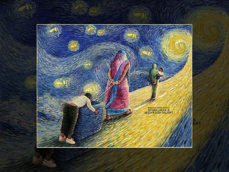 The Starry(Scary) Night van gogh vincent van gogh road children poverty lockdown pandemic migrants workers migrants covid-19 coronavirus corona drawing digital art india art sivadigitalart illustration