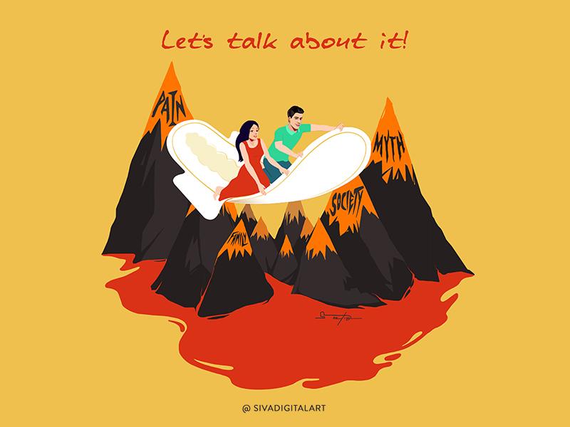 Let's talk about it! women design drawing myth taboo society awareness illustration poster art sivadigitalart menstruation