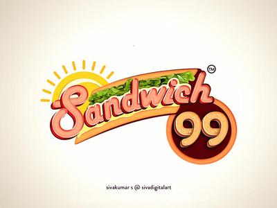 Sandwich 99 | Logo Design logo design branding food sandwich restaraunt cafe branding design digital art typography art graphic design illustration sivadigitalart logo logo design