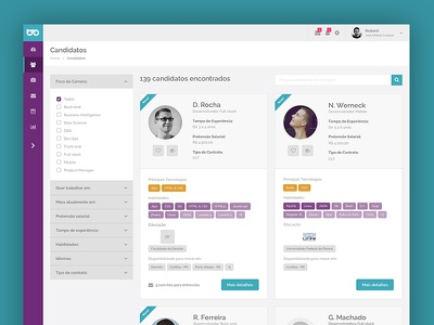 Geekhunter candidates ux ui interface filter admin geekhunter candidate recruiting system product hiring