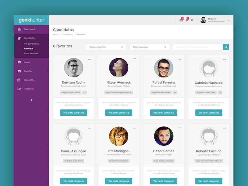 Geekhunter favorites favorite ux ui system recruiting product interface hiring geekhunter filter candidate admin