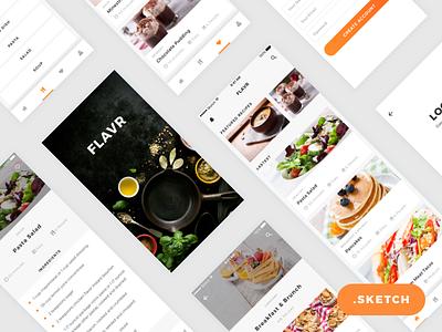 Flavr App iOS UI Kit (Sketch Freebie) ios app mockup interface freebie clean recipes food app ux user experience ui user interface