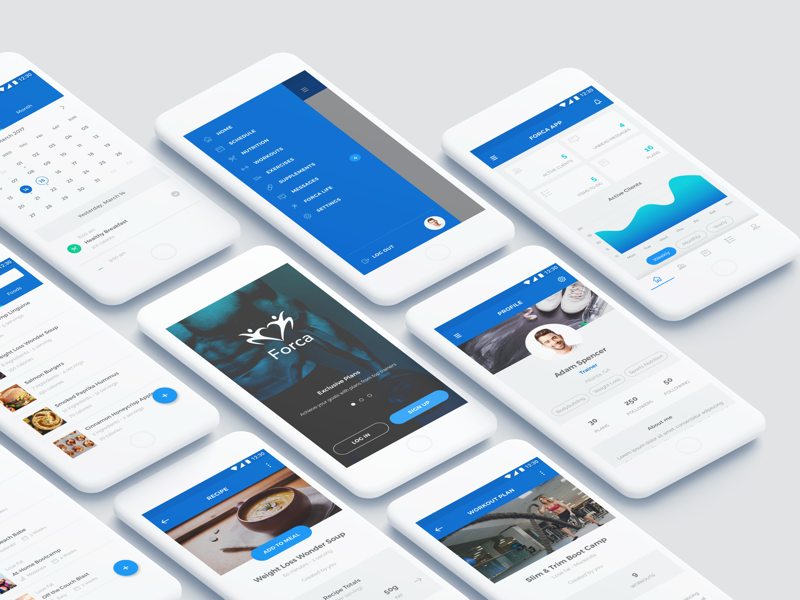 Forca App personal trainer client nutrition exercise workout supplement body stats progress user experience user interface interaction design android