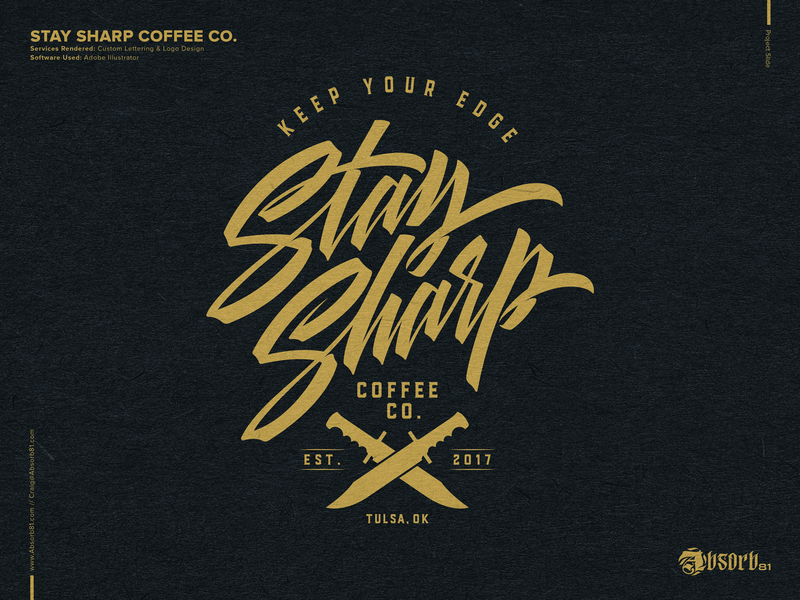 Stay Sharp Coffee Co. logo identity branding knives knife vector brushlettering script typography lettering coffee shop coffee