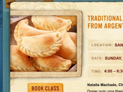 argentina foodfest #3 food festival homepage grocery tan orange pop-up event detail empanadas