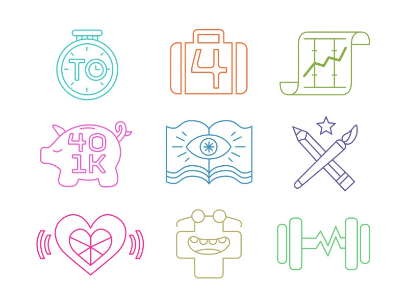 9 Icons icons thank you perks clock suitcase 401k piggy bank book pencil paintbrush heart health