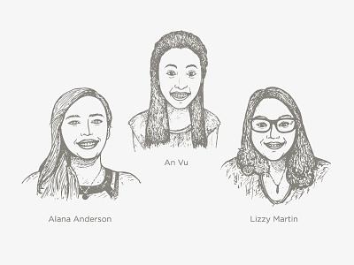 New CM Team Members: An, Alana, Lizzy lizzy alana an members drawings sketch portraits team market creative