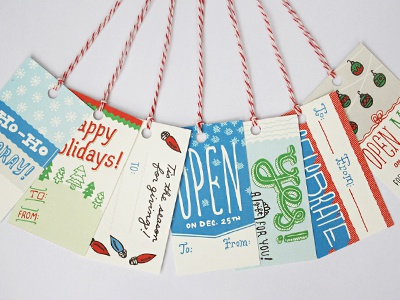 gift-tags holiday gift tags illustration set of 14 red twine christmas