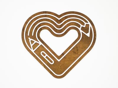 The Heart of Design hanging art laser cut wood process community creative market stylus pen pencil heart design