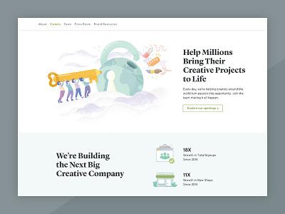 Creative Market Careers Page Refresh illustrations landing page creative market market creative web design careers